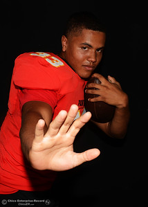 D.J. Miller is ready to start the high school football season Saturday, Aug. 13, 2016, for the Chico Panthers during a photo shoot at the Enterprise-Record in Chico, California. (Dan Reidel -- Enterprise-Record)