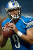 Aug 10, 2012; Detroit, MI, USA; Detroit Lions quarterback Matthew Stafford (9) warms up before the preseason game against the Cleveland Browns at Ford Field. Mandatory Credit: Tim Fuller-US PRESSWIRE