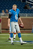 Aug 10, 2012; Detroit, MI, USA; Detroit Lions punter Ryan Donahue (6) before the preseason game against the Cleveland Browns at Ford Field. Mandatory Credit: Tim Fuller-US PRESSWIRE