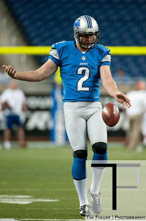 Aug 10, 2012; Detroit, MI, USA; Detroit Lions punter Ben Graham (2) warms up before the preseason game against the Cleveland Browns at Ford Field. Mandatory Credit: Tim Fuller-US PRESSWIRE