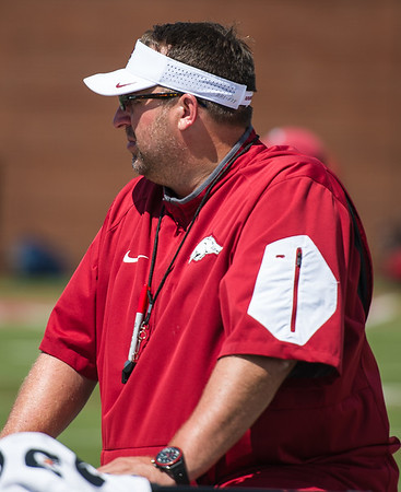 Coach Bielema at the Razorback Football practice on Tuesday, August 11, 2015 at the Fred W. Smith Football Center in Fayetteville, Arkansas.   (Alan Jamison, Nate Allen Sports Service).