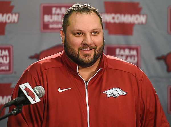 New Arkansas Offensive Line Coach Kurt Anderson meets with media on January 16, 2016.    (Alan Jamison, Nate Allen Sports Service)