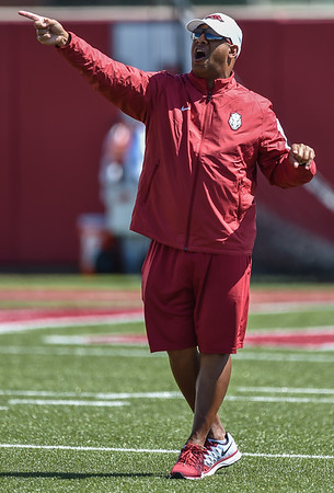 Coach Michael Smith at the Razorback football practice on Thursday, August 20, 2015 at the Fred W. Smith Football Center in Fayetteville, Arkansas.   (Alan Jamison, Nate Allen Sports Service).
