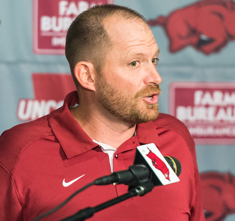 Defensive Coordinator Robb Smith at the Razorback football press conference on Monday, August 31, 2015 at the Fred W. Smith Football Center in Fayetteville, Arkansas.   (Alan Jamison, Nate Allen Sports Service).