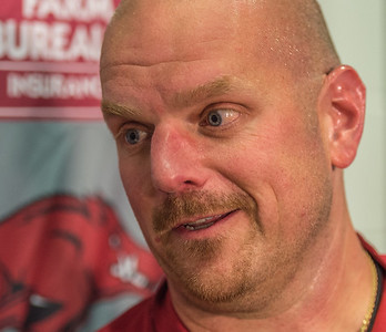 Coach Rory Segrest during the Razorback football press conference on 9-2-2015 in the Fred W. Smith Football Complex media room.  (Alan Jamison, Nate Allen Sports Service).