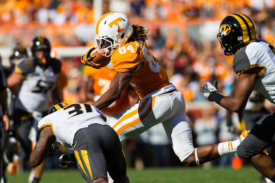 Knoxville, TN - November 10, 2012: Wide receiver Cordarrelle Patterson #84 of the Tennessee Volunteers  during the game between the Missouri Tigers and the Tennessee Volunteers at Neyland Stadium in Knoxville, TN. Photo By Tim Gangloff/Tennessee Athletics