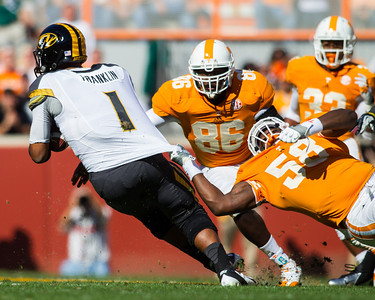 Knoxville, TN - November 10, 2012: Defensive lineman Marlon Walls #58 of the Tennessee Volunteers and linebacker Willie Bohannon #86 of the Tennessee Volunteers during the game between the Missouri Tigers and the Tennessee Volunteers at Neyland Stadium in Knoxville, TN. Photo By Tim Gangloff/Tennessee Athletics