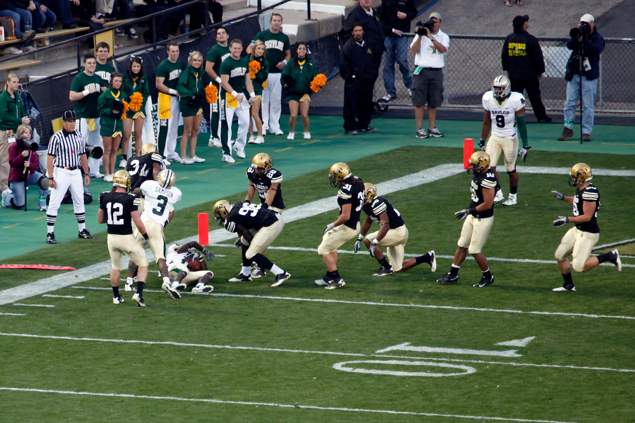 Baylor takes the ball down to CU's 4 yard line before meeting Colorado's defense.