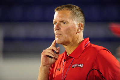 Sept 9, 2011 : Maryland Terrapins new football coach Randy Edsall watches action at the 2011 Patriot Classic Football tournament at the United States Naval Academy Stadium in Annapolis, Maryland. Calvert Hall dominated and came away with a 18-0 victory over DeMatha.
