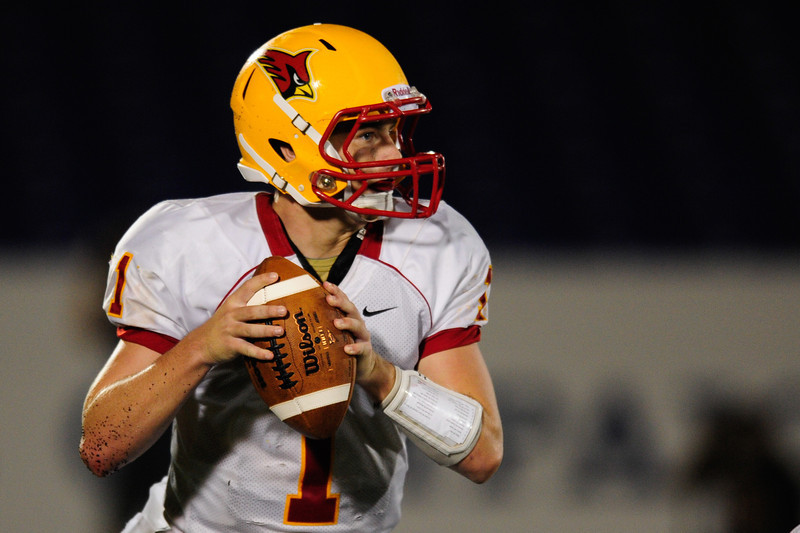 Sept 9, 2011 : Calvert Hall's quarterback Thomas Stuart (1) looks to pass during action at the 2011 Patriot Classic Football tournament at the United States Naval Academy Stadium in Annapolis, Maryland. Calvert Hall dominated and came away with a 18-0 victory over DeMatha.
