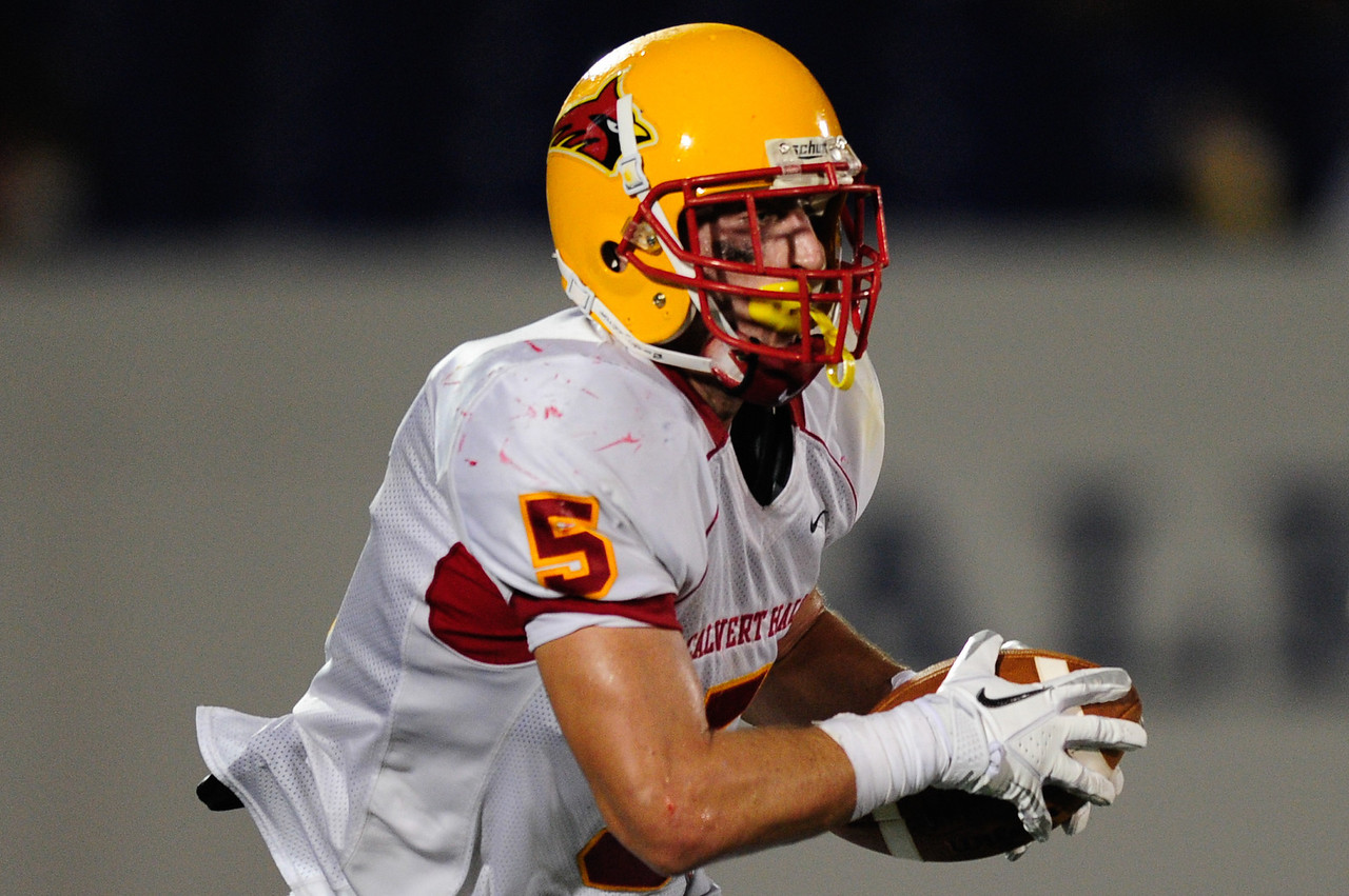 Sept 9, 2011 : Calvert Hall's CJ Williams (5) runs the ball during action at the 2011 Patriot Classic Football tournament at the United States Naval Academy Stadium in Annapolis, Maryland. Calvert Hall dominated and came away with a 18-0 victory over DeMatha.