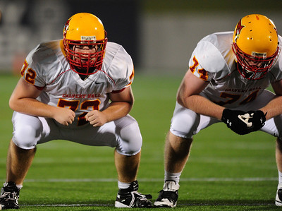 Sept 9, 2011 : Linemen Preston Tull (72) and JP McManus (74) lineup prior to the snap during action at the 2011 Patriot Classic Football tournament at the United States Naval Academy Stadium in Annapolis, Maryland. Calvert Hall dominated and came away with a 18-0 victory over DeMatha.