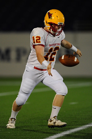 Sept 9, 2011 : Calvert Hall's Garrett Flannery (12) kicks off during action at the 2011 Patriot Classic Football tournament at the United States Naval Academy Stadium in Annapolis, Maryland. Calvert Hall dominated and came away with a 18-0 victory over DeMatha.