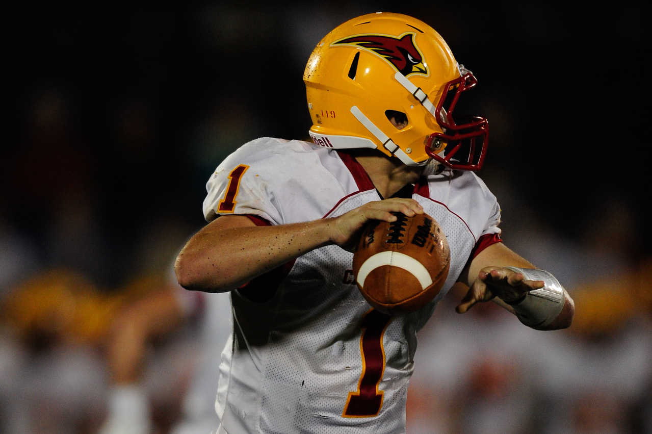 Sept 9, 2011 : Calvert Hall's starting quarterback Thomas Stuart (1) during action at the 2011 Patriot Classic Football tournament at the United States Naval Academy Stadium in Annapolis, Maryland. Calvert Hall dominated and came away with a 18-0 victory over DeMatha.
