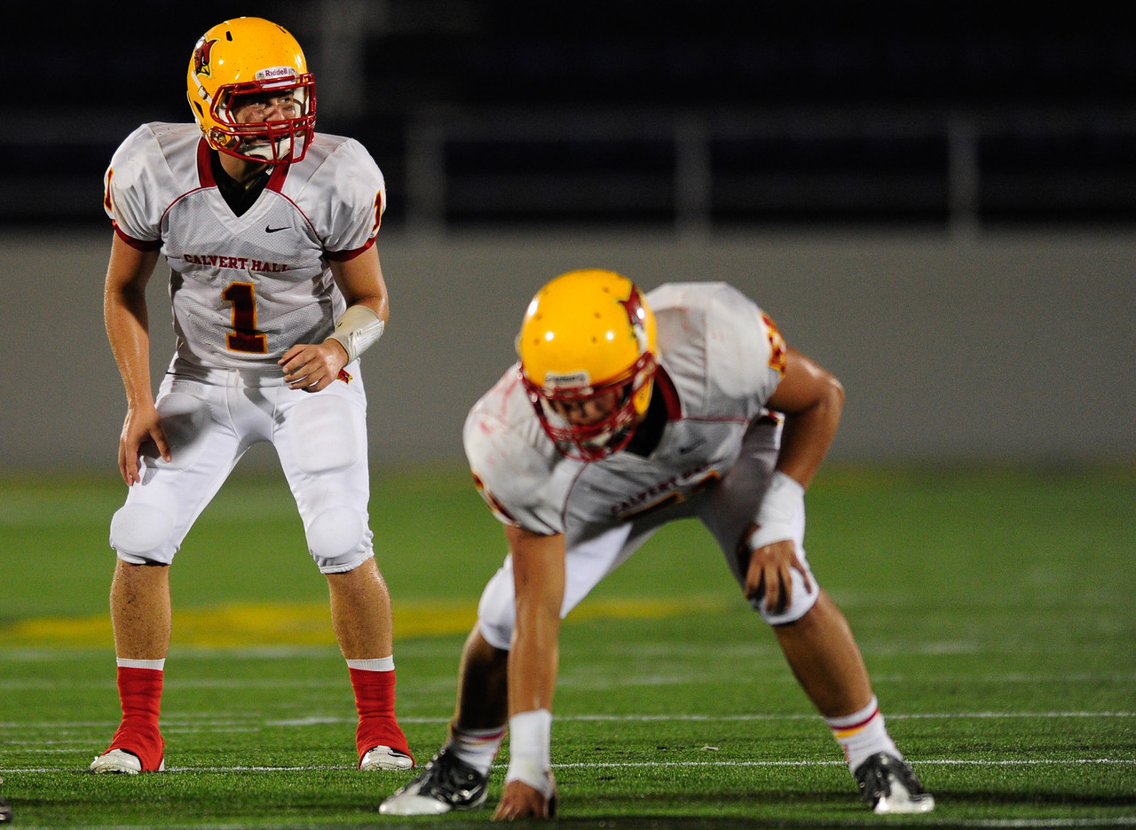 Sept 9, 2011 : Calvert Hall's quarterback Thomas Stuart (1) in action during action at the 2011 Patriot Classic Football tournament at the United States Naval Academy Stadium in Annapolis, Maryland. Calvert Hall dominated and came away with a 18-0 victory over DeMatha.