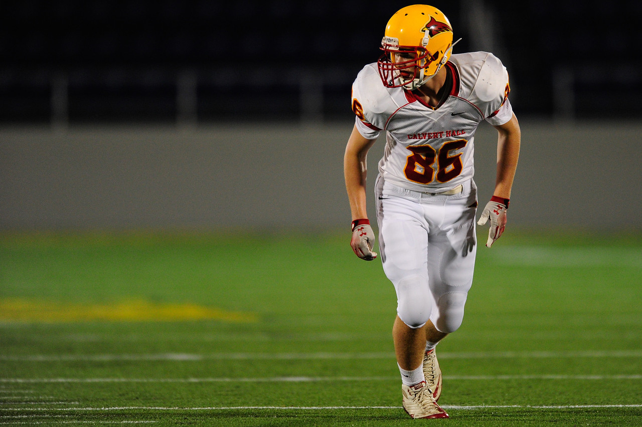 Sept 9, 2011 : Calvert Hall's wide receiver Erik Evans (86) during action at the 2011 Patriot Classic Football tournament at the United States Naval Academy Stadium in Annapolis, Maryland. Calvert Hall dominated and came away with a 18-0 victory over DeMatha.