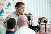 May 11, 2012; Allen Park, MI, USA; Detroit Lions head coach Jim Schwartz  talks to the media after rookie mini camp at the Detroit Lions training facility. Mandatory Credit: Tim Fuller-US PRESSWIRE