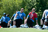 May 11, 2012; Allen Park, MI, USA; Detroit Lions quarterback Kellen Moore (17) and offensive tackle Riley Reiff (71) warm up during rookie mini camp at the Detroit Lions training facility. Mandatory Credit: Tim Fuller-US PRESSWIRE