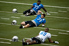 July 27, 2012; Allen Park, MI, USA; Detroit Lions tackles Gosder Cherilus (77),  Riley Reiff (71), and defensive end Ugo Chinasa (69) stretch during training camp at the Detroit Lions training facility. Mandatory Credit: Tim Fuller-US PRESSWIRE