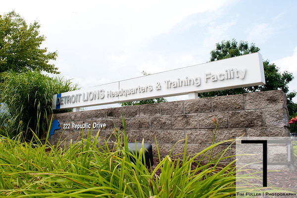 July 27, 2012; Allen Park, MI, USA; A general view of the entrance of the  Detroit Lions headquarters and training facility before the start of training camp. Mandatory Credit: Tim Fuller-US PRESSWIRE