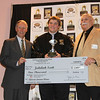 Jedidiah Scott Offensive Lineman Winner with his Trophy and Check for $5,000.  with Jeff Kane and Peter De Simon.