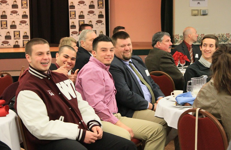 """Honorable Mention was made that Coach Matt Perkins of  WIndham High was chosen as the """"High School Coach of the Year 2014"""". Here is is with several of his many football players. Congratulations Coach Perkins!"""