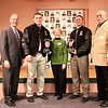 Jeffrey & Judy Gaziano Kane, Peter De Simon with 2011 Frank J. Gaziano Lineman Award Winners Logan Mars and Luke Libby.<br /> <br /> Don't you just love Judy's Sweater...green like turf and black lines like a grid iron.  So Creative is she!