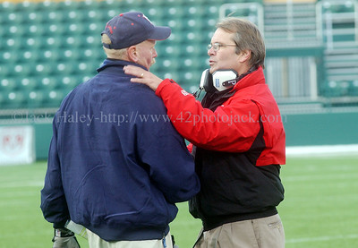 DSC_0950 - Hornell Red Raider football coach Gene Masin (left) and Geneva Panther head coach Dave Whitcomb shake hands before their two teams battled for the Section Five Class B football championships on Saturday at Patec Park in  Rochester on Saturday, November 4, 2006. Geneva, the defending Class A champs posted the win over Hornell, the defending Class B champions.