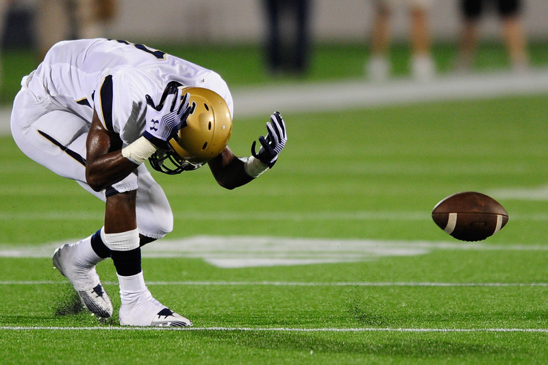 Sept 10, 2011 : Good Counsel's wide receiver Stefon Diggs (1) reacts after dropping a pass during action at the 2011 Patriot Classic Football tournament at the United States Naval Academy Stadium in Annapolis, Maryland. Good Counsel defeated Gilman 26-21.