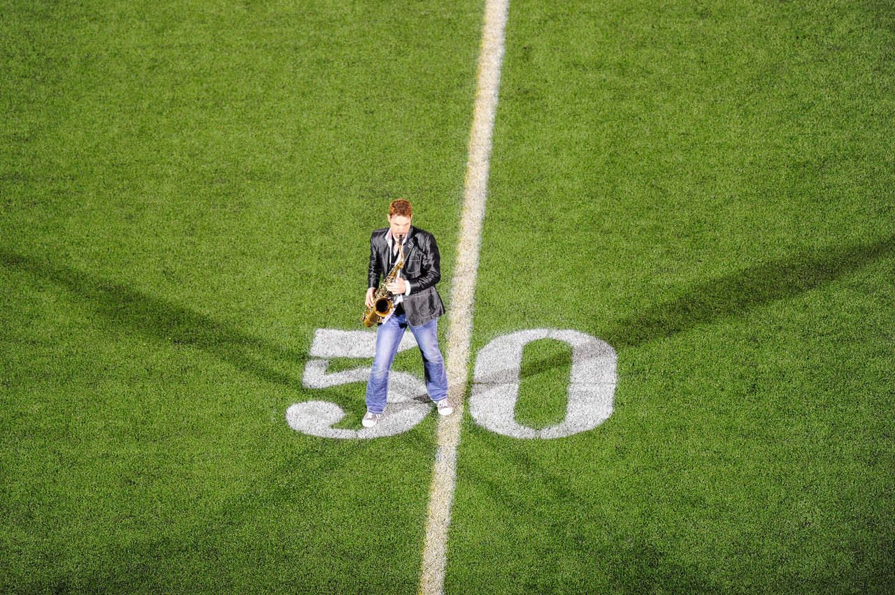 Sept 10, 2011 : David Tauler plays the saxophone during halftime celebrations during action at the 2011 Patriot Classic Football tournament at the United States Naval Academy Stadium in Annapolis, Maryland. Good Counsel defeated Gilman 26-21.