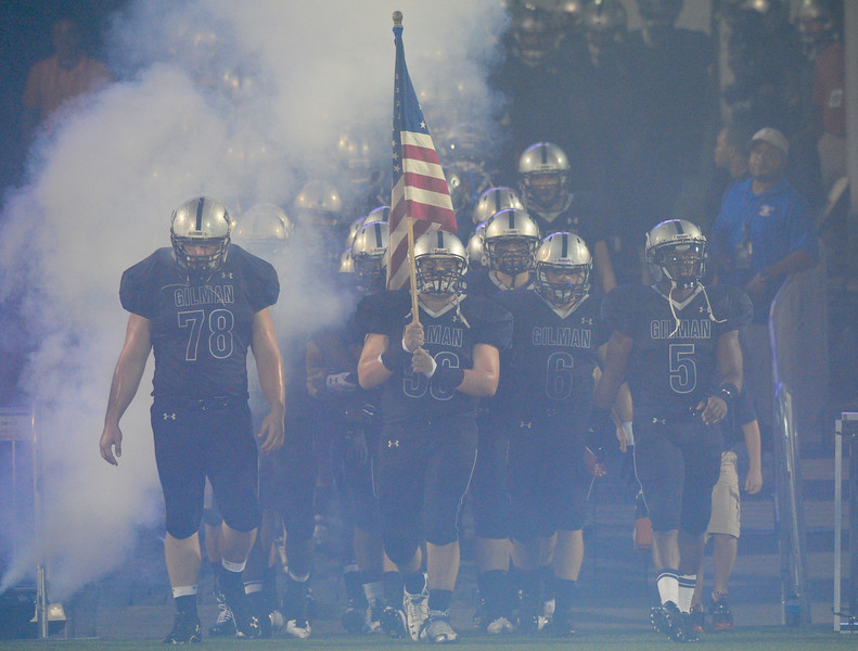 Sept 10, 2011 : The Gilman Greyhounds make their way onto the field before action at the 2011 Patriot Classic Football tournament at the United States Naval Academy Stadium in Annapolis, Maryland. Good Counsel defeated Gilman 26-21.