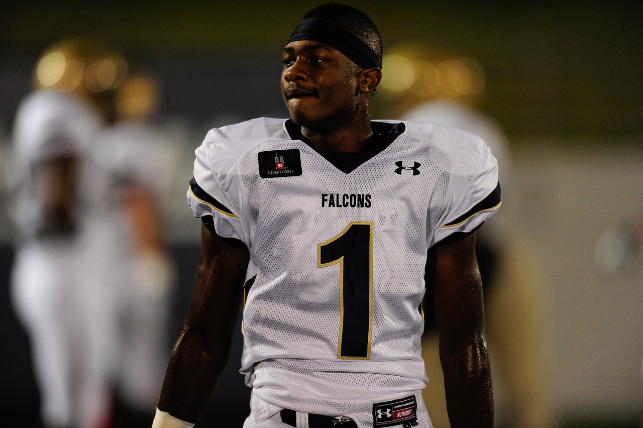Sept 10, 2011 : Leading national wide receiver prospect Stefon Diggs (1) before action at the 2011 Patriot Classic Football tournament at the United States Naval Academy Stadium in Annapolis, Maryland. Good Counsel defeated Gilman 26-21.