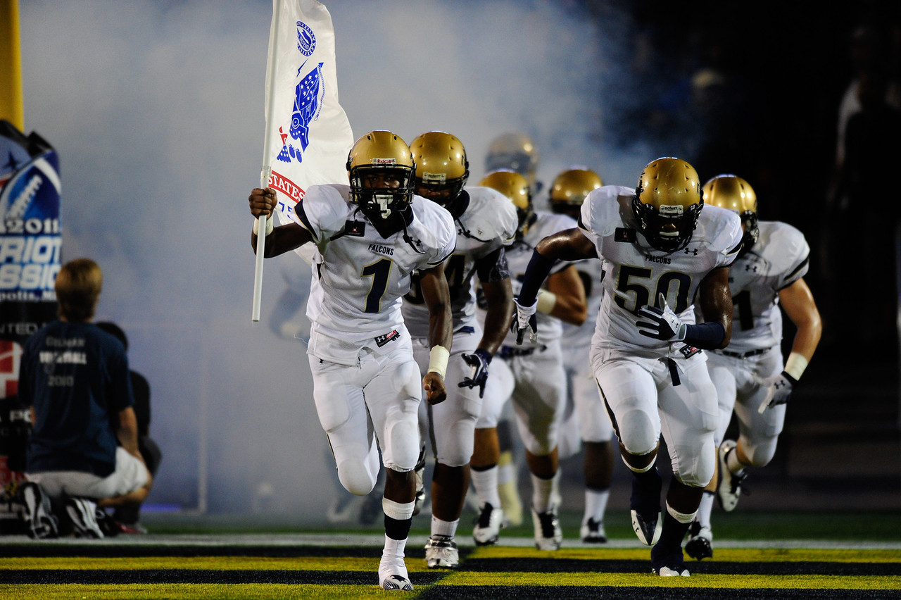 Sept 10, 2011 : The Good Counsel Falcons make their way onto the field before action at the 2011 Patriot Classic Football tournament at the United States Naval Academy Stadium in Annapolis, Maryland. Good Counsel defeated Gilman 26-21.