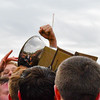 Groton-Dunstable players try to get a hand on the Colonel Prescott Cup. Sun/Ed Niser