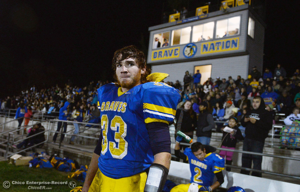 . Hamilton High\'s #33 Andrew Shippelhoute looks on against Winters High in the fourth quarter of their football game at HHS Wednesday, November 27, 2013 in Hamilton City, Calif.  (Jason Halley/Chico Enterprise-Record)