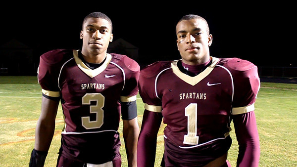 Broad Run senior running back T.J. Peeler (#1) and senior wide receiver Adrian Flemming (#3) after the Spartans 41-0 win over Wilson (D.C.) Thurs. Sept. 17.
