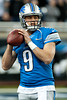 Dec 2, 2012; Detroit, MI, USA; Detroit Lions quarterback Matthew Stafford (9) warms up before the game against the Indianapolis Colts at Ford Field. Mandatory Credit: Tim Fuller-USA TODAY Sports