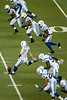 Dec 2, 2012; Detroit, MI, USA; Indianapolis Colts kicker Pat McAfee (1) kicks off during the first quarter against the Detroit Lions at Ford Field. Mandatory Credit: Tim Fuller-USA TODAY Sports
