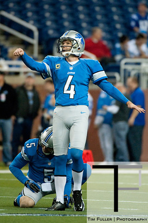 Dec 2, 2012; Detroit, MI, USA; Detroit Lions kicker Jason Hanson (4) warms up before the game against the Indianapolis Colts at Ford Field. Mandatory Credit: Tim Fuller-USA TODAY Sports
