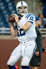 Dec 2, 2012; Detroit, MI, USA; Indianapolis Colts quarterback Andrew Luck (12) before the game against the Detroit Lions at Ford Field. Mandatory Credit: Tim Fuller-USA TODAY Sports