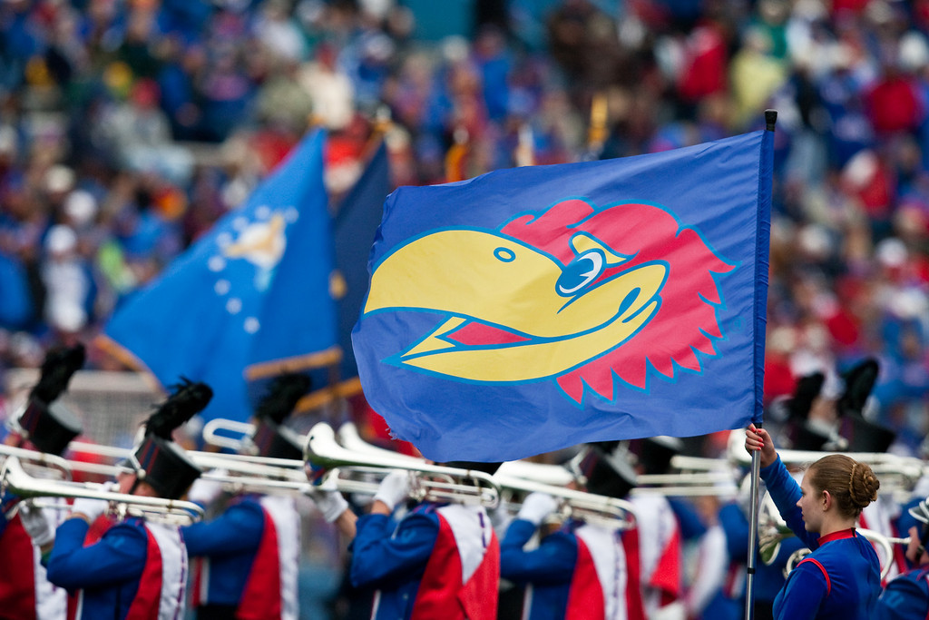 10 October 2009: The Kansas band performs before the Kansas Jayhawks 36-41 win over the Iowa State Cyclones at Memorial Stadium in Lawrence, Kansas.