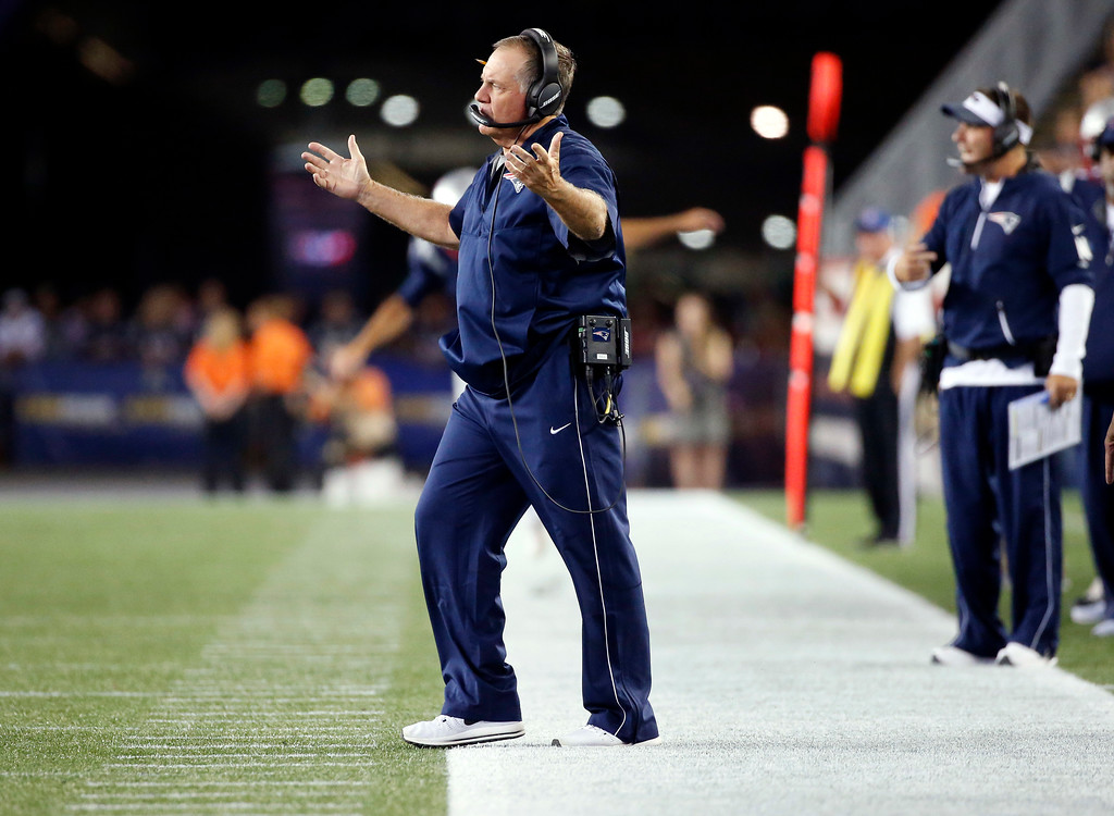 . New England Patriots head coach Bill Belichick appeals to an official in the first half of an NFL preseason football game against the Jacksonville Jaguars, Thursday, Aug. 10, 2017, in Foxborough, Mass. (AP Photo/Mary Schwalm)