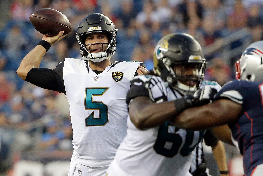 . Jacksonville Jaguars quarterback Blake Bortles (5) passes against the New England Patriots in the first half of an NFL preseason football game, Thursday, Aug. 10, 2017, in Foxborough, Mass. (AP Photo/Steven Senne)