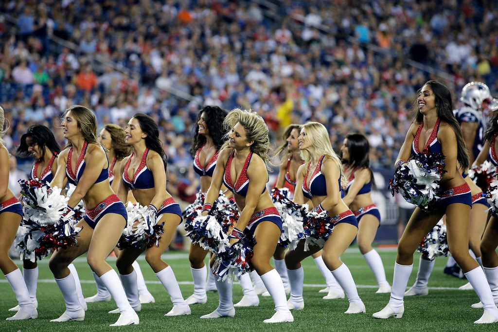 . New England Patriots cheerleaders perform in the first half of an NFL preseason football game between the Patriots and the Jacksonville Jaguars, Thursday, Aug. 10, 2017, in Foxborough, Mass. (AP Photo/Steven Senne)