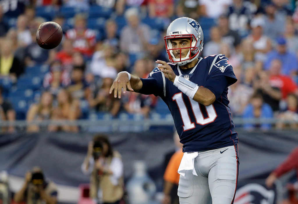 . New England Patriots quarterback Jimmy Garoppolo throws a pass against the Jacksonville Jaguars in the first half of an NFL preseason football game, Thursday, Aug. 10, 2017, in Foxborough, Mass. (AP Photo/Steven Senne)