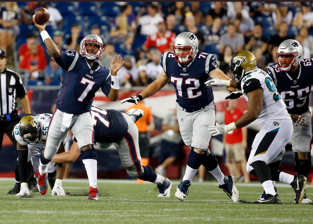 . New England Patriots quarterback Jacoby Brissett (7) passes against the Jacksonville Jaguars in the second half of an NFL preseason football game, Thursday, Aug. 10, 2017, in Foxborough, Mass. (AP Photo/Mary Schwalm)