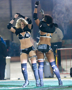 Natalie Jahnke and Lutasha Bradley have some fun during player intros (Los Angeles Temptation)