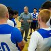 Head Coach Steve Dubzinski pep talks the Leominster High basketball team during practice on Tuesday afternoon. SENTINEL & ENTERPRISE / Ashley Green