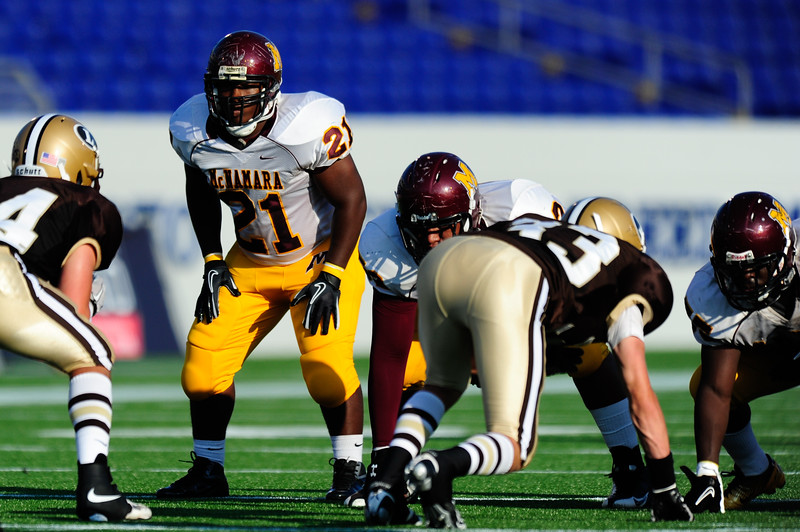 Sept 9, 2011 : McNamara's George Battle (21) awaits the snap during action at the 2011 Patriot Classic Football tournament at the United States Naval Academy Stadium in Annapolis, Maryland. The Landon Bears defeated the McNamara team 29-14.
