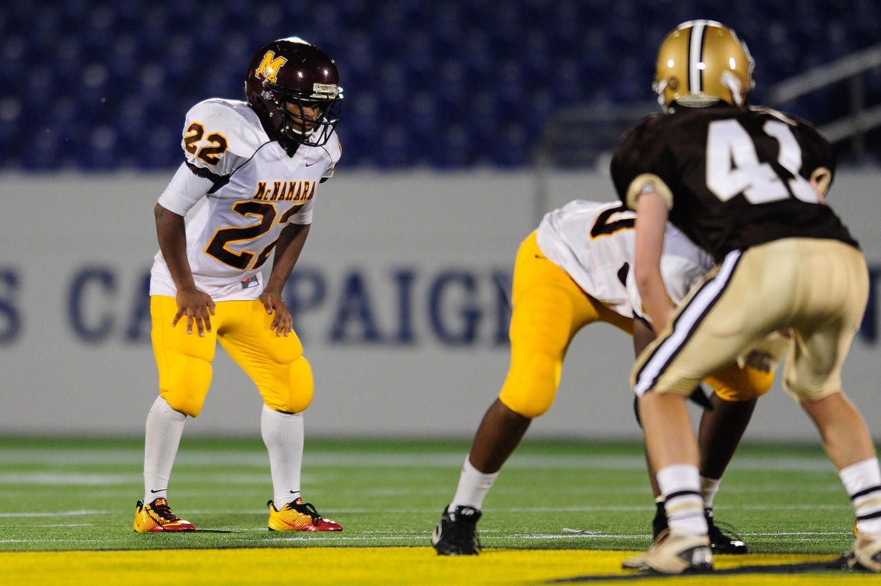 Sept 9, 2011 : McNamara's RB Adam Gillis (22) awaits the snap during action at the 2011 Patriot Classic Football tournament at the United States Naval Academy Stadium in Annapolis, Maryland. The Landon Bears defeated the McNamara team 29-14.